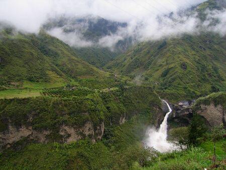 ecuador: Waterfall near Banos, Ecuador Stock Photo