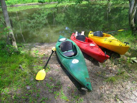 Kayaks on Shore Stock Photo - 3190020