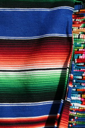 artisanry: Mexican Serapes for sale in Playa del Carmen, Mexico Stock Photo