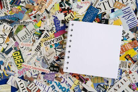 Blank Notepad on Magazine Clipping Background Stock Photo - 3205874