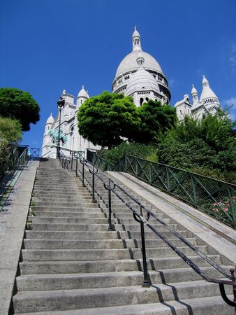 Steps leading up to Sacre Coeur Basilica in Paris, France