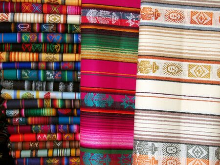artisanry: Traditional Blankets in Quito, Ecuador Stock Photo