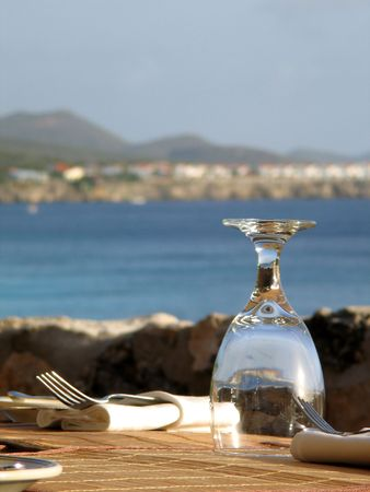 Glass at Restaurant in Curacao, Dutch Antilles Stock Photo