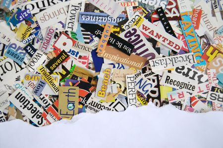 Torn Paper over Magazine background Banque d'images