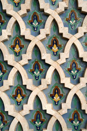 카사 블랑카, 모로코의 하산 II 모스크에 모자이크 타일 세부 사항