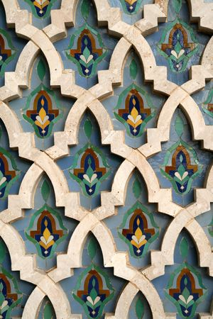 marocchini: Mosaic Tile Dettaglio sulla Moschea Hassan II a Casablanca, Marocco Archivio Fotografico