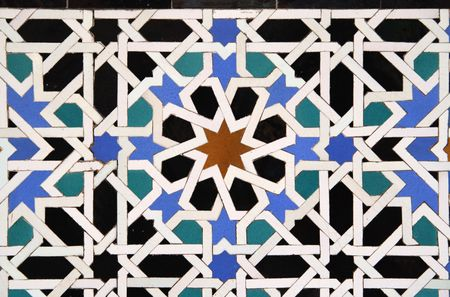 alhambra: Arabic Tile Detail in the Alcazar in Sevilla, Spain