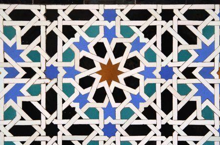 sevilla: Arabisch Tegelspel Detail in het Alcazar in Sevilla, Spanje