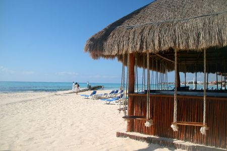 Beach in Playa del Carmen, Mexico 免版税图像