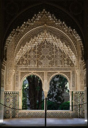 Window in the Alhambra Palace in Granada, Spain Editorial