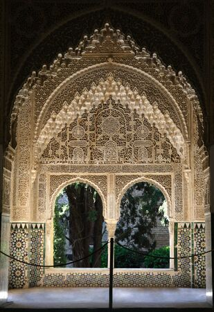 alhambra: Window in the Alhambra Palace in Granada, Spain Editorial