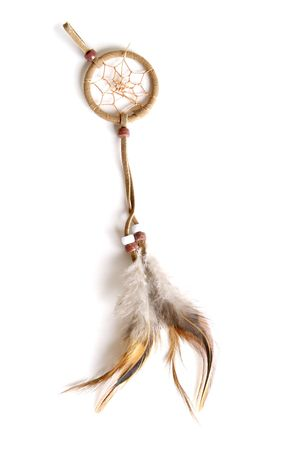 Authentic Native American Leather Dream Catcher Stock Photo