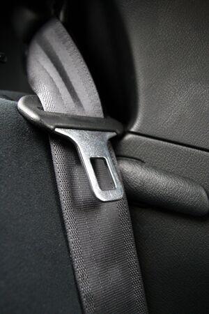 Black Seatbelt in a small car Stock Photo
