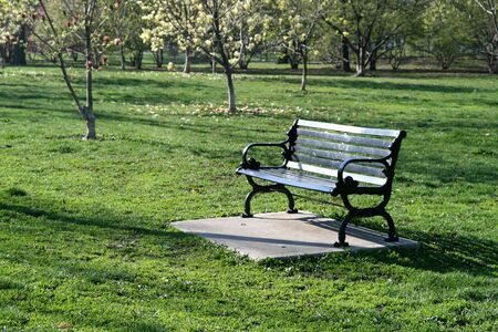 Park bench in Goodale Park in Columbus, Ohio in springtime Stock Photo - 4846093
