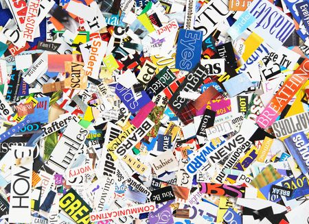 Words clipped from magazines form a colorful background Stock Photo