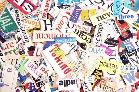Assortment of colorful words cut out from magazines Banco de Imagens