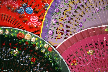 Colorful Spanish Fans arranged for sale in a store in Segovia, Spain