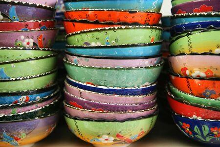 Colorful, decorative Turkish bowls for sale near Cappadocia, Turkey