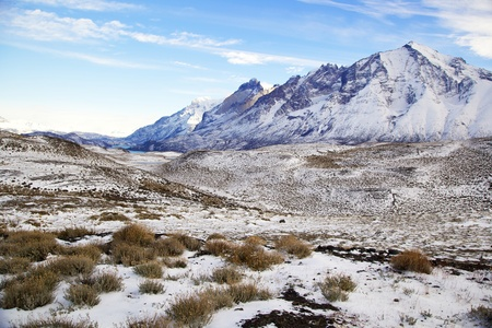 alpine tundra: Torres del Paine National Park in Chile in the winter