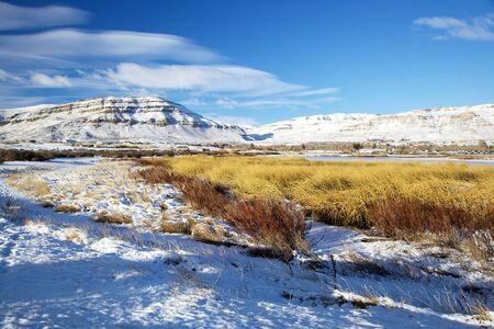 엘 칼라 파테, 겨울에 아르헨티나 라구나 Nimez 스톡 콘텐츠