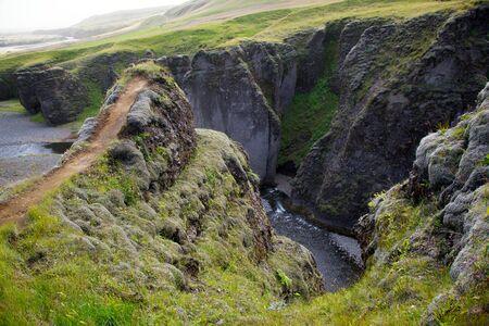 아이슬란드의 Fjathrargljufur 협곡에서 바위 계곡