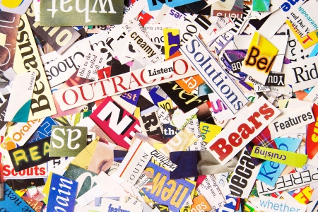 Colorful Word Background formed from Magazine Clippings