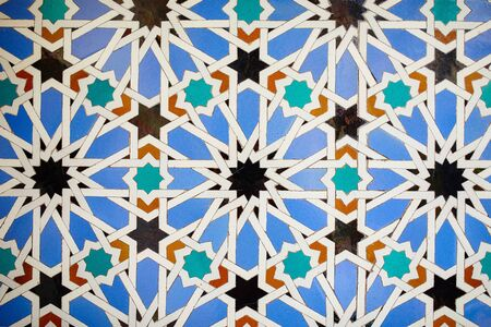 Al-andalus tile background in the royal palace of Seville, Spain