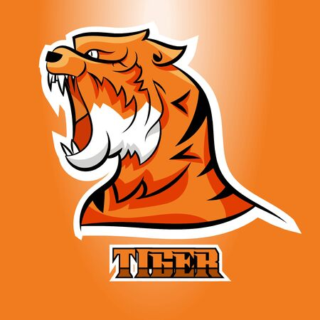 Tiger icon or mascot logo vector illustration for gaming, esport, sport team logo. Symbol of brave, strong and aggressive Иллюстрация