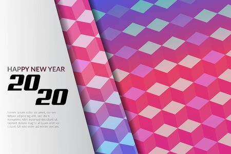 happy new year new modern style layout template for poster, card, banner or brochure design, layered with cube geometric pattern. Vectores