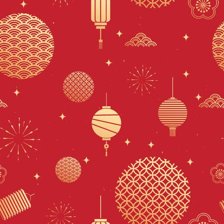chinese new year theme seamless pattern vector illustration, new year icons elements.