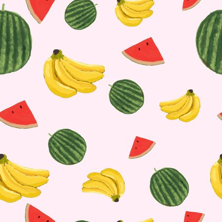 vector illustration seamless pattern of fruits, banana and watermelon hand drawn