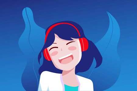 Cute young girl happy listening music or sound using headphone, vector illustration cartoon character. Ilustração