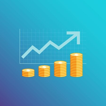 Simple infographic template, with elements : graph, arrow and coins on gradient blue background, finance, economic and investment concept. Illustration