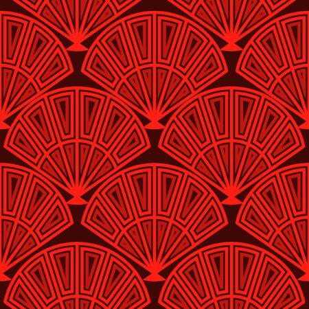Seamless pattern, Chinese New Year pattern elements, waves, flowers and vintage style, red and black color for banner, poster and design background Illustration