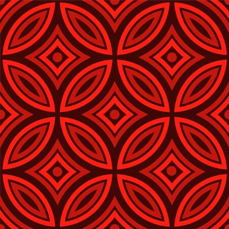 Seamless pattern, Chinese New Year pattern elements, waves, flowers and vintage style, red and black color for banner, poster and design background Ilustração