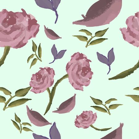 seamless pattern of tropical petal roses and leafs watercolor texture brush, vector illustration