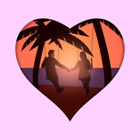 Lovely sweet young couple sitting on swings, laughing together, enjoying beautiful sunset scenery at beach side. scene vector illustration.