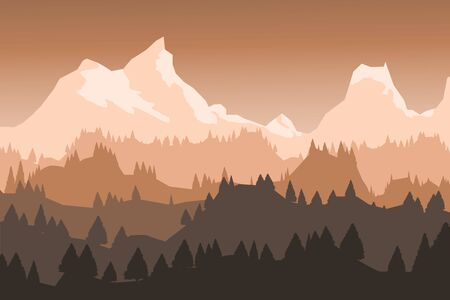 Beautiful nature forest landscape view, orange color dusk, evening scene, vector eps10 illustration.