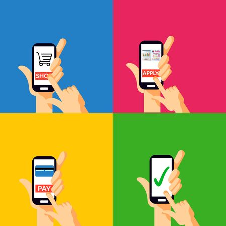 sets of hand holding mobile phone, tapping or touching on screen button to pay, apply, enrollment and done symbols sign. vector illustration.
