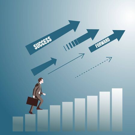 Cartoon character of successful businessman in suit side view climbing up stairs, arrows with motivation words. Success businessman Ilustração