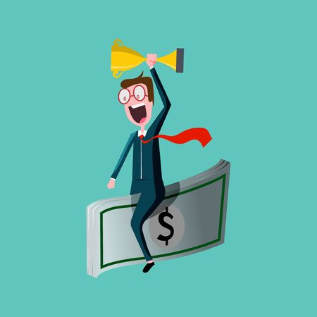 Cartoon character happy businessman, excited face on huge banknotes flying in sky showing trophy, successful businessman Ilustração