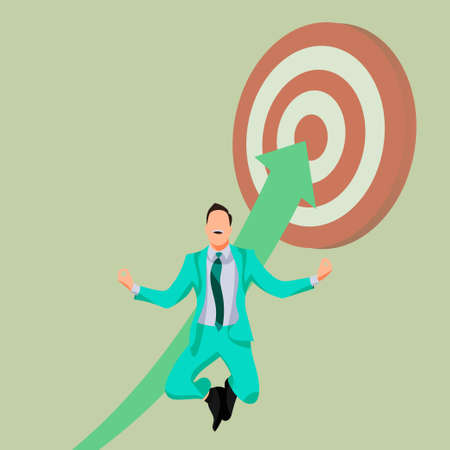 Businessman in suit, happy, jumping, success, achievement the target or goal. Cartoon character vector illustration Illustration