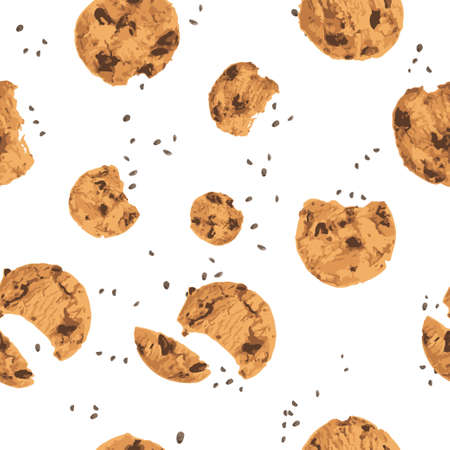 Chocolate chips cookies top view, seamless pattern vector illustration on white background