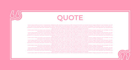 Illustration vector of quote background. Remark quote text box poster template concept. blank empty frame citation. Quotation paragraph symbol icon. double bracket comma mark. bubble dialogue banner.