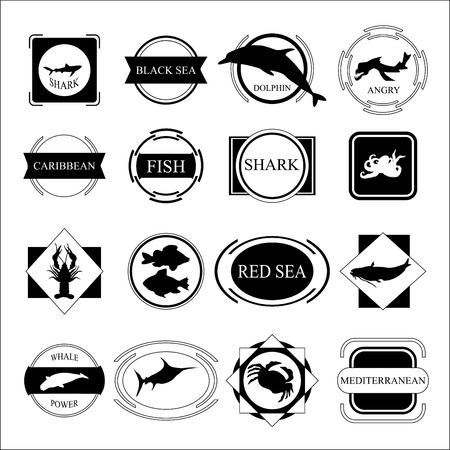 set of sea. fish silhouette and frame. stock vectir Vector