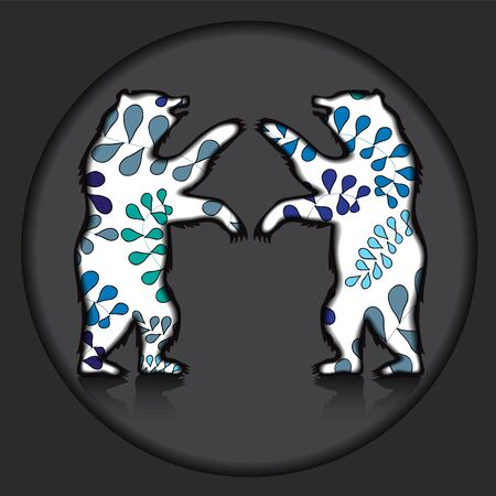 bear silhouette: due portano silhouette su sfondo grigio. illustrazione vettoriale