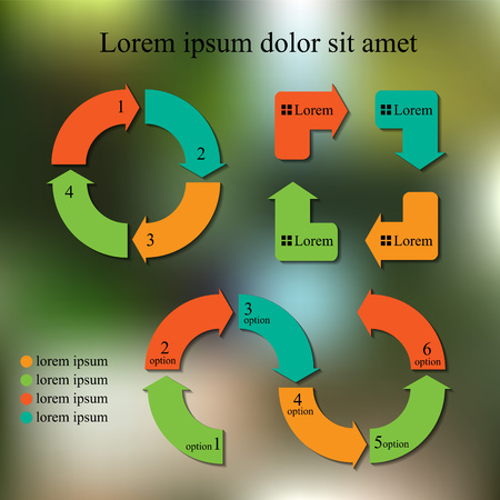 set of info-graphic design template. business concept. abstract blurred background. Vector