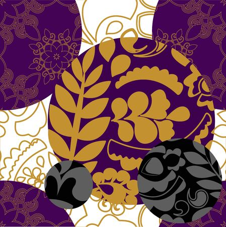 patchwork pattern: seamless floral patchwork pattern with golg leaves - stock vector