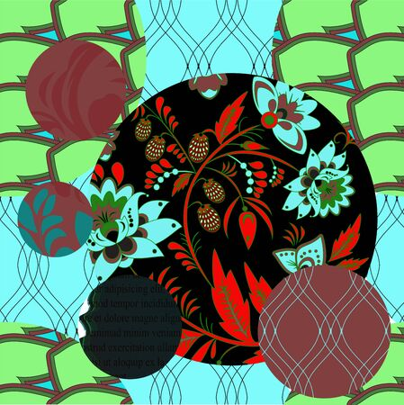 fragmented: seamless patchwork pattern with flowers stock vector Illustration