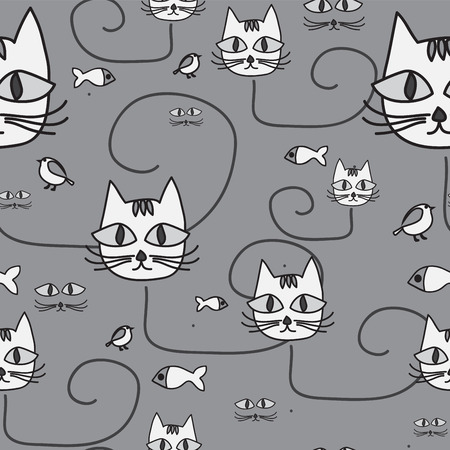 Diseño de dibujos animados con el gato. sin patrón. ilustración vectorial Foto de archivo - 40258322
